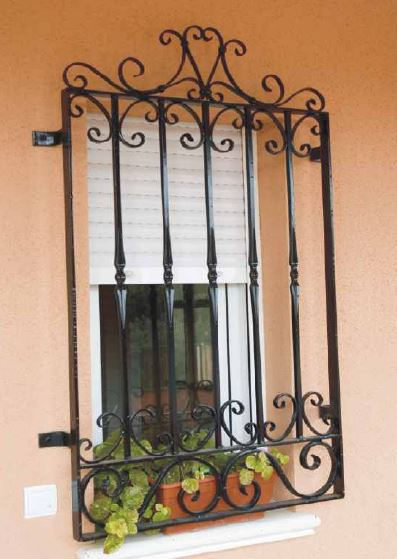 Wrought iron windows for exterior walls